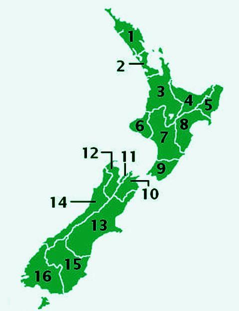 Административное устройство Новой Зеландии. Карта регионов.